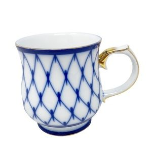 *SOLD* NANTUCKET Vintage Blue White Porcelain Coffee Cup